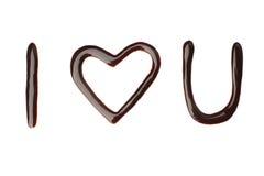 Ik houd van u vloeibaar chocoladeteken Stock Foto