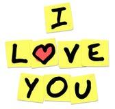 Ik houd van u - Woorden op Gele Kleverige Nota's vector illustratie