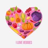 Ik houd van veggies Hart van groenten Stock Afbeelding