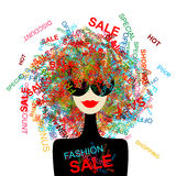Ik houd van verkoop! De vrouw van de manier met het winkelen concept stock illustratie