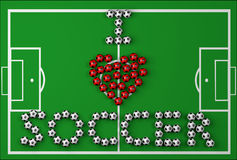 Ik houd van Voetbal Stock Foto's