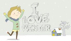 Ik houd van winter-Kind geniet van sneeuwval Stock Foto's