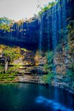 Ik-Kil Cenote near Chichen Itza, Mexico. Lovely cenote with transparent turquoise waters and hanging roots.  Royalty Free Stock Photo