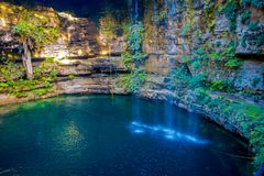 Ik-Kil Cenote near Chichen Itza, Mexico. Lovely cenote with transparent turquoise waters and hanging roots.  Stock Images