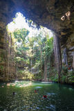 Ik Kil Cenote. Wide view of the Ik Kil cenote, a natural water reservoir in the Yucatan Peninsula in Mexico stock photo