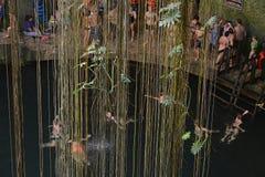 Ik-kil cenote in Yucatan peninsula, Mexico. Many swimmeres in Ik-kil cenote in Yucatan peninsula, Mexico. 09.01.2016 Royalty Free Stock Image