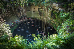 Ik Kil cenote, Yucatan populär gränsmärke, Mexico arkivfoton