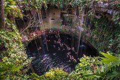 Ik Kil cenote, Yucatan popular landmark, Mexico Stock Images
