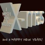 Ik wens u vrolijke Kerstmis en een gelukkig nieuw jaar royalty-vrije illustratie