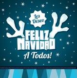 Ik wens Vrolijke Kerstmis aan allen - ik wens Vrolijke Kerstmis aan al Spaanse tekst Royalty-vrije Stock Foto's