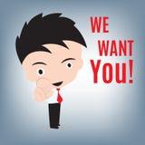 Ik wil u, de bedrijfsmens en het richten met vinger voor vacatureconcept, illustratie in vlak ontwerp Stock Afbeeldingen