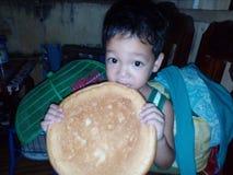 Ik wil wat brood eten Stock Foto's