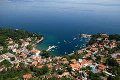 Ika bay and harbour air photo in Croatia Royalty Free Stock Photos