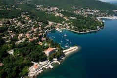 Ika bay and Opatija riviera air photo in Croatia Stock Photo