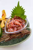 Ika No Shiokara Japanese Squid Fermented Served with Sliced Cucumber in the Iced Bowl Royalty Free Stock Photo