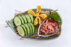 Ika No Shiokara Japanese Squid Fermented Served with Sliced Cucumber in the Iced Bowl Stock Image
