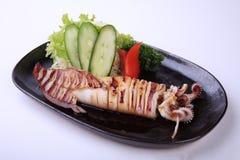 Ika Teriyaki, roasted squid with teriyaki sauce isolated on whit Royalty Free Stock Photos