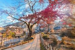Ikaho Onsen på höst är en stad för varm vår som lokaliseras på easteren Royaltyfri Bild