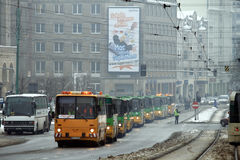 Ikarus buses parade Stock Photo