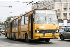 Ikarus 280. CHELYABINSK, RUSSIA - JULY 2, 2008: Aged articulated city bus Ikarus 280 at the city street stock image
