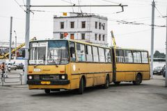 Ikarus 280. Chelyabinsk, Russia - July 2, 2008: Articulated urban bus Ikarus 280 in the city street royalty free stock images