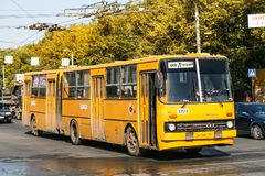 Ikarus 280. Chelyabinsk, Russia - September 18, 2009: Yellow articulated bus Ikarus 280 in the city street royalty free stock photography