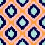 Ikat几何无缝的样式 橙色和蓝色收藏 图库摄影