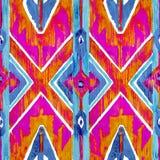Ikat在水彩样式的几何红色和橙色地道样式 无缝的水彩 库存图片