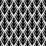 Картина черно-белого простого ikat деревьев геометрического безшовная, вектор Стоковая Фотография RF