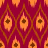 Ikat brown vector seamless pattern  curtain, textile design, bed linen, wallpaper, surface texture background. Royalty Free Stock Images