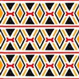 Ikat damask seamless pattern. Black, red, yellow elements on a w Stock Photo