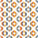 Ikat fabric style, rug texture pattern. Seamless geometric pattern, based on ikat fabric style. Vector illustration. Carpet rug texture vector imitation. Yellow Royalty Free Stock Photography