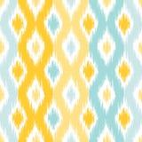 Ikat fabric style, rug texture pattern. Seamless geometric pattern, based on ikat fabric style. Vector illustration. Carpet rug texture vector imitation. Yellow Royalty Free Stock Photo