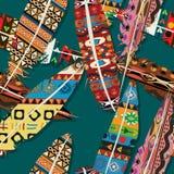 Ikat feather pattern. Ikat feather seamless  pattern design Royalty Free Stock Image