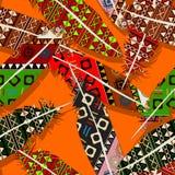 Ikat feather pattern. Ikat feather seamless  pattern design Stock Photography