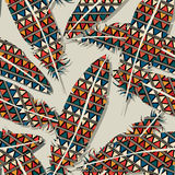 Ikat feather pattern. Ikat feather seamless  pattern design Royalty Free Stock Images
