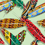 Ikat feather pattern. Ikat feather seamless  pattern design Stock Images