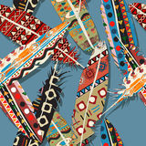 Ikat feather pattern. Ikat feather seamless  pattern design Royalty Free Stock Photography