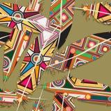 Ikat feather pattern. Ikat feather seamless  pattern design Stock Image