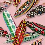 Ikat feather pattern. Ikat feather seamless  pattern design Royalty Free Stock Photos