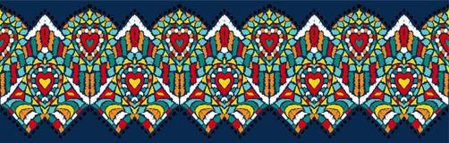 Ikat folkloru geometryczny ornament Plemienna etniczna wektorowa tekstura Bezszwowy pasiasty wzór w azteka stylu ilustracja wektor