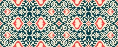 Ikat geometric folklore ornament. Oriental vector damask pattern. Ancient art of Arabesque. Tribal ethnic texture. Spanish motif on the carpet. Aztec style royalty free illustration