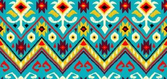Ikat geometric folklore pattern. Ethnic folk ornament texture. Tribal mengikat textile. Aztec, Indian, Scandinavian, Gypsy or Mexican fabric stock illustration