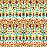 Ikat geometric folklore pattern. Ethnic folk ornament texture. Tribal mengikat textile. Aztec, Indian, Scandinavian, Gypsy or Mexican fabric stock illustration