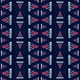 Ikat geometric pattern with tribal background vector texture. Seamless striped motif in Aztec symbol. Hand drawn ethnic with royalty free illustration