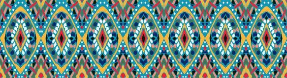 Ikat geometrisk folkloreprydnad Stam- etnisk vektortextur Sömlös randig modell i Aztec stil vektor illustrationer