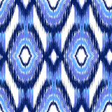 Ikat Ogee Background  12. Blue Ikat Ogee Seamless Background Pattern Stock Image