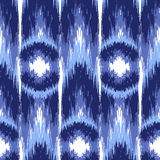 Ikat Ogee Background  14. Blue Ikat Ogee Seamless Background Pattern Stock Image