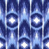 Ikat Ogee Background 14. Blue Ikat Ogee Seamless Background Pattern stock illustration