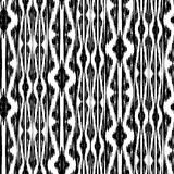 Ikat Ogee Background 107. Seamless Ikat Pattern. Abstract black and white background for textile design, wallpaper, surface textures royalty free illustration